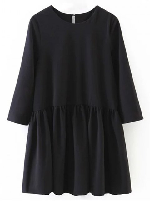 affordable Flounce Ruffles Oversized Blouse - BLACK L Mobile