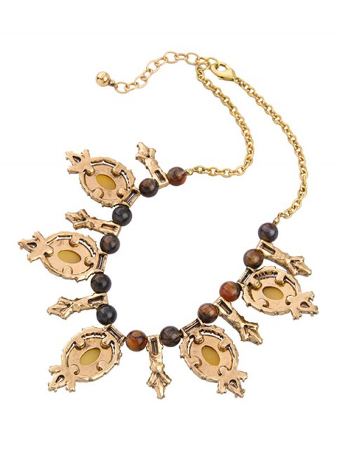 online Oval Artificial Gem Beads Necklace -   Mobile