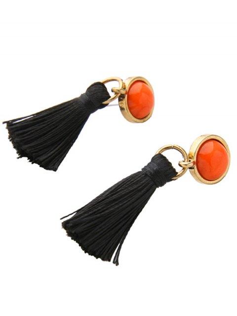 trendy Vintage Tassel Earrings - BLACK  Mobile
