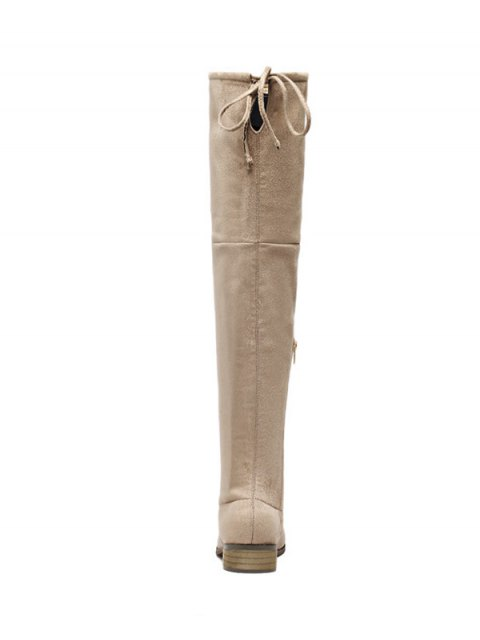 buy Flat Heel Zip Tie Up Thigh Boots - APRICOT 39 Mobile