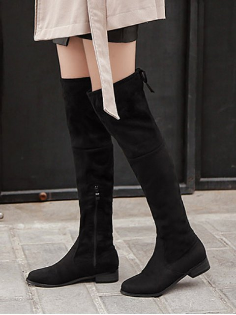 lady Flat Heel Zip Tie Up Thigh Boots - BLACK 38 Mobile