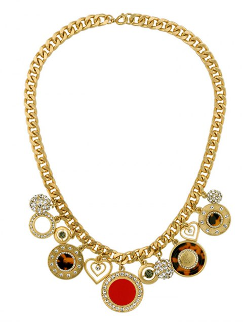 new Rhinestone Heart Circle Charm Necklace - GOLDEN  Mobile