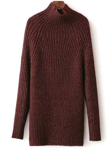 outfit Tight Raglan Sleeve Ribbed Sweater - BURGUNDY ONE SIZE Mobile