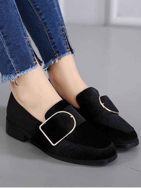 outfits Belt Buckle Square Toe Velvet Flat Shoes - BLACK 38 Mobile