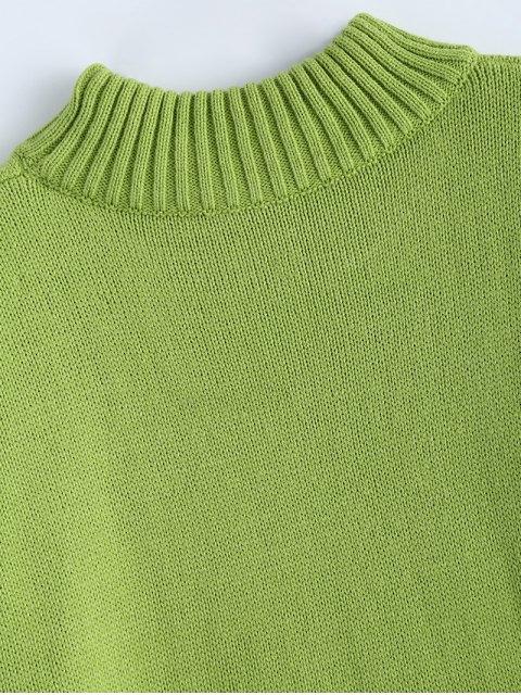 fashion Crewneck Oversized Sweater - GREEN ONE SIZE Mobile