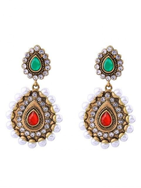 buy Vintage Artificial Pearl Gem Teardrop Earrings - GOLDEN  Mobile