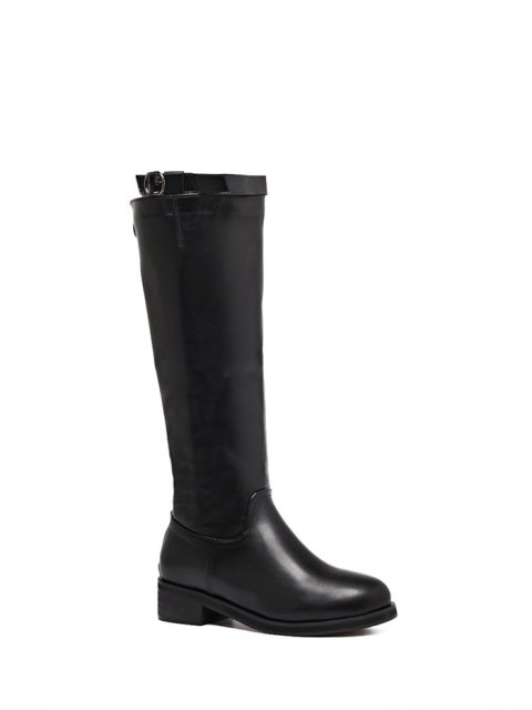 online Belt Buckle Zipper Knee High Boots - BLACK 37 Mobile