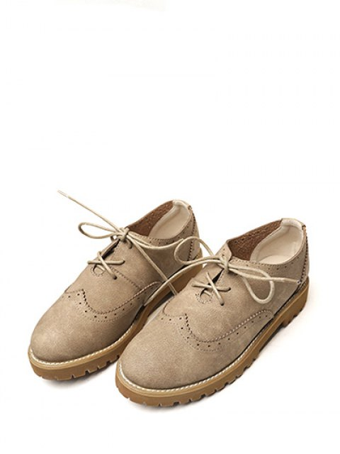trendy Wingtip Round Toe Tie Up Flat Shoes - KHAKI 39 Mobile