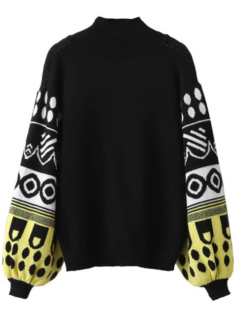 shops Lantern Sleeve Patterned Sweater - BLACK ONE SIZE Mobile