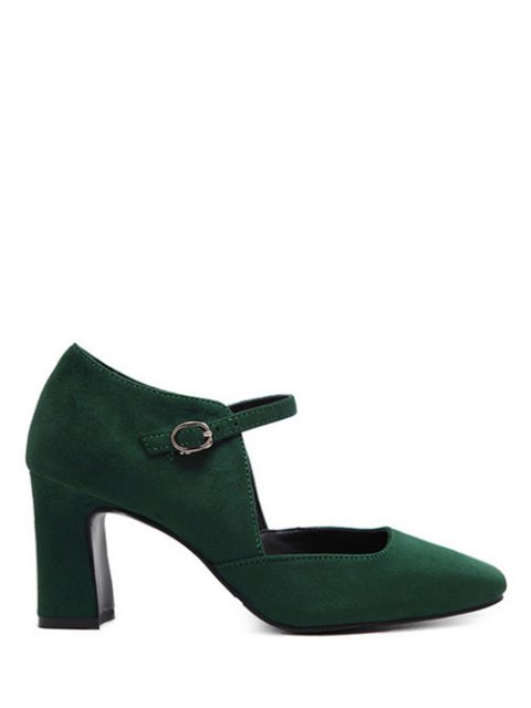 women Flock Block Heel Square Toe Pumps - BLACKISH GREEN 39 Mobile