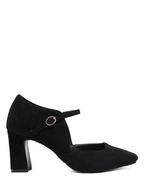 online Flock Block Heel Square Toe Pumps - BLACK 38 Mobile