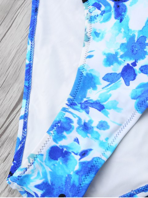 sale Chinese Floral Painting Swimsuits Slip - BLUE M Mobile