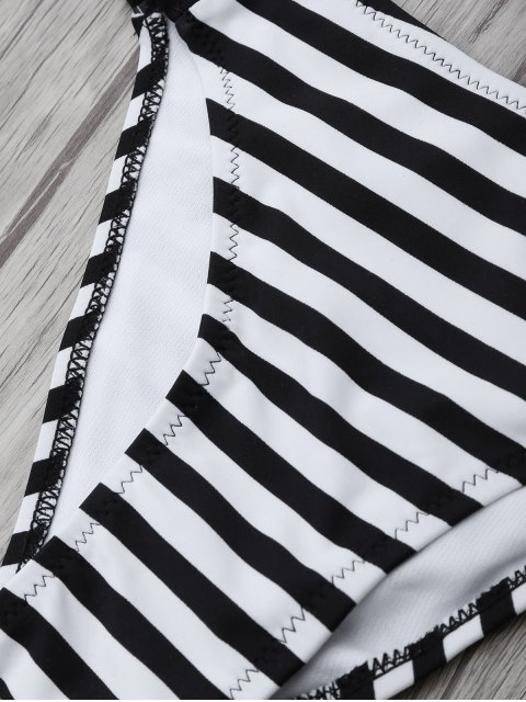 outfit Halter Two Tone Striped Bikini - WHITE AND BLACK 2XL Mobile