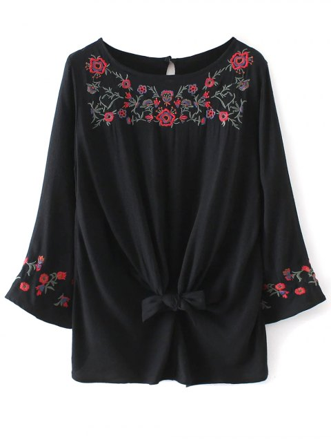 unique Floral Embroidered Knotted Blouse - BLACK S Mobile
