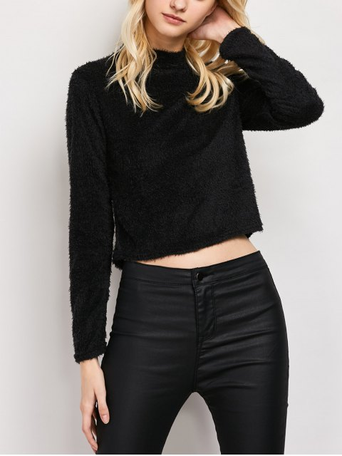buy High Neck Fuzzy Cropped T-Shirt - BLACK S Mobile