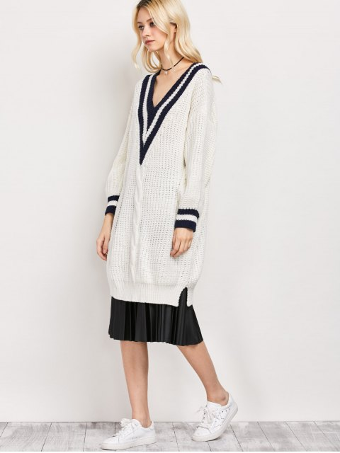 shops V Neck Cable Knit Cricket Sweater - WHITE ONE SIZE Mobile