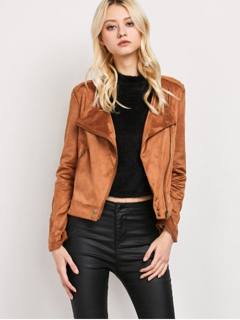 new Fringe Asymetrical Suede Jacket - BROWN S Mobile