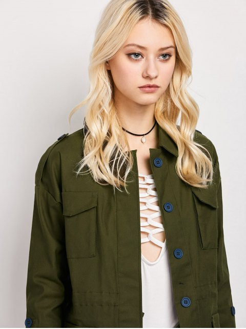 shop Pockets Turndown Collar Utility Jacket - ARMY GREEN L Mobile