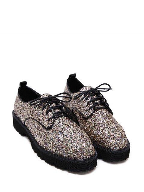 unique Sequined Lace Up Glitter Flat Shoes - GOLDEN 37 Mobile