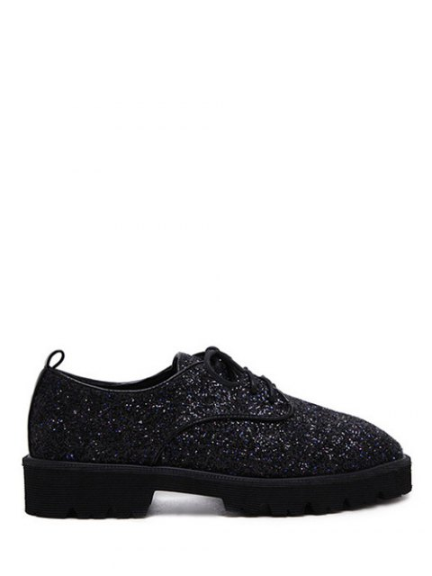 womens Sequined Lace Up Glitter Flat Shoes - BLACK 38 Mobile