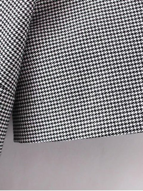 women's Houndstooth Choker Dress - WHITE AND BLACK S Mobile