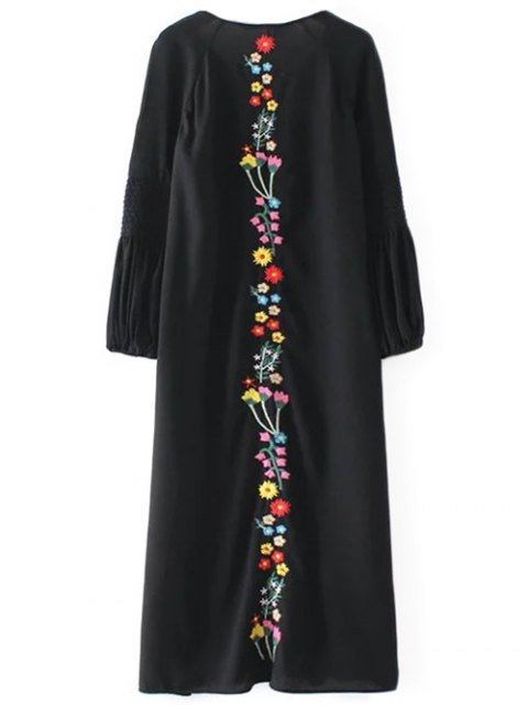 lady Floral Embroidered Tunic Midi Dress - BLACK M Mobile