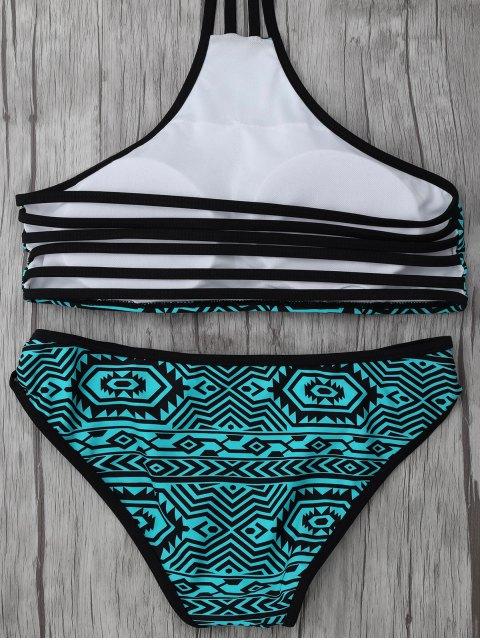 lady High Neck Tribal Print Bikini Set - BLUE GREEN M Mobile
