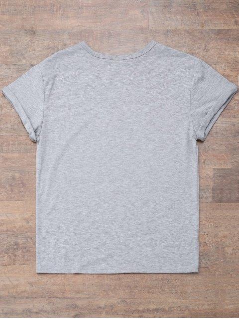 online Short Sleeve Letter Print Boyfriend T-Shirt - GRAY 3XL Mobile