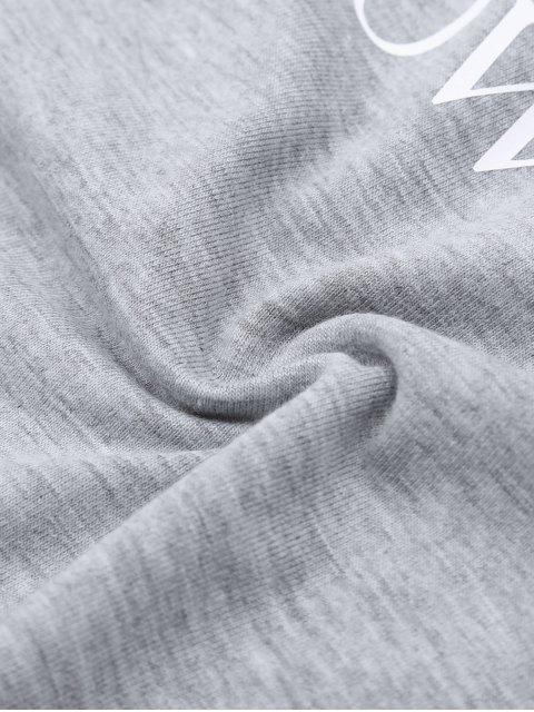 fashion Short Sleeve Letter Boyfriend T-Shirt - GRAY L Mobile