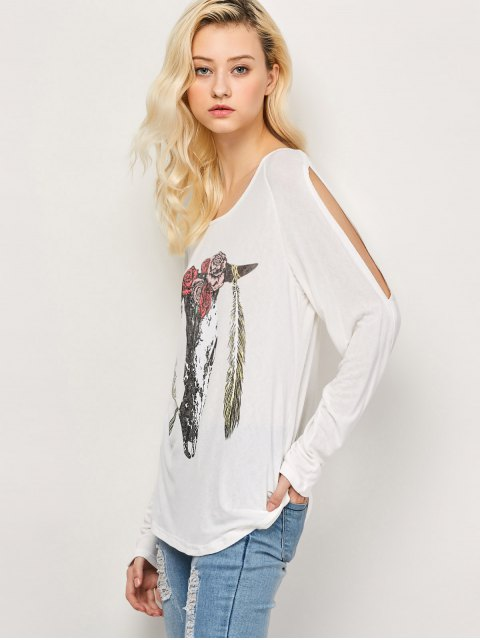 shop Printed Cold Shoulder T-Shirt - WHITE XL Mobile