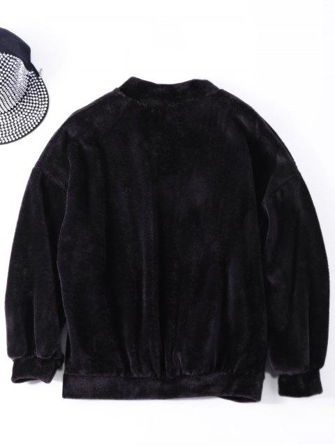 women Oversized Velvet Letter Sweatshirt - BLACK ONE SIZE Mobile
