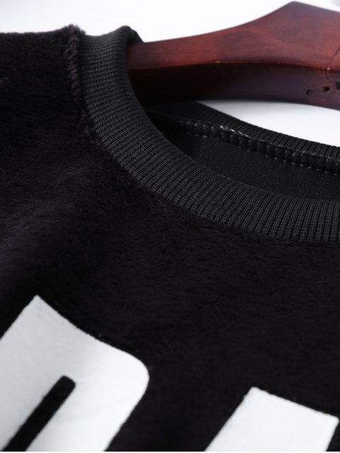 ladies Velvet Letter Wool Blend Sweatshirt - BLACK ONE SIZE Mobile