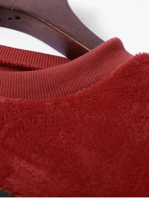 lady Velvet Letter Wool Blend Sweatshirt - DARK AUBURN ONE SIZE Mobile