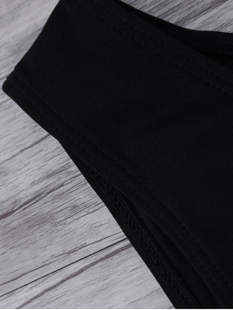 women Leaf Print High Neck Sporty Bikini - BLACK XL Mobile