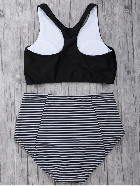 best Striped High Waisted Bikini Set - BLACK XL Mobile