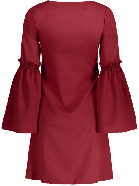 online Flare Sleeve V Neck Shift Dress - RED S Mobile
