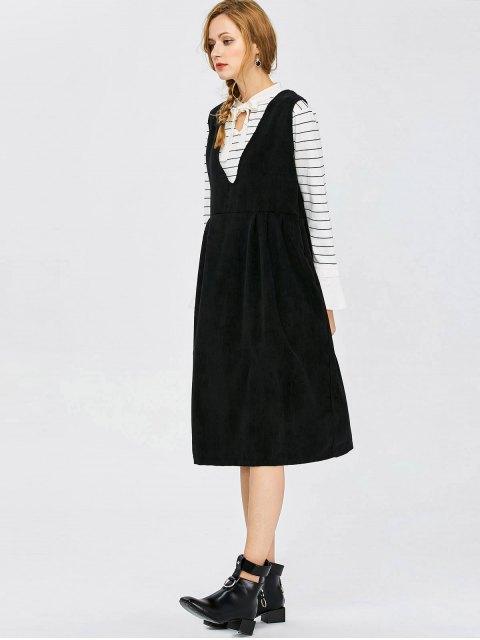 affordable Plunging Neck Suspender Dress - BLACK L Mobile