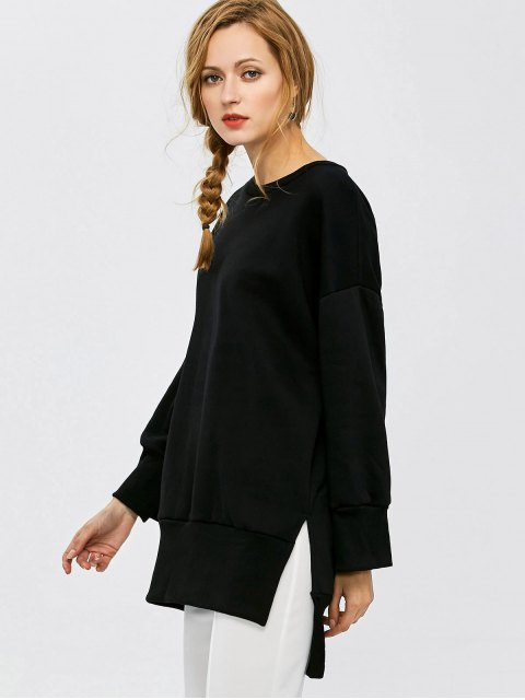outfits Slit High Low Sweatshirt - BLACK XL Mobile