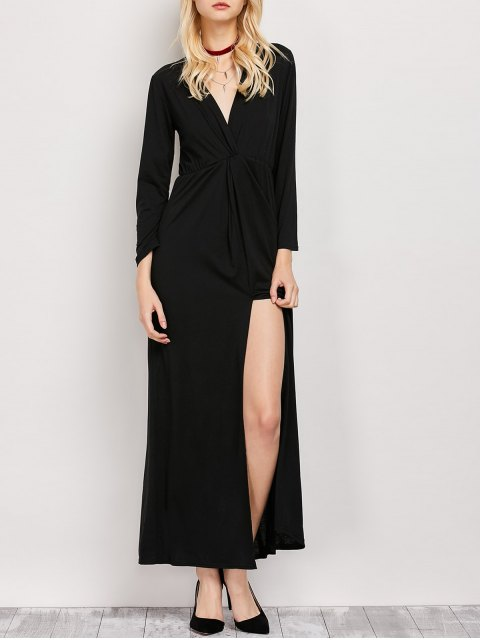 sale Long Sleeve Maxi Plunge Dress with Slit - BLACK XL Mobile