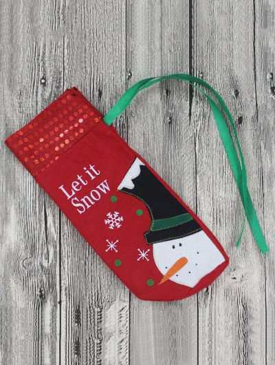 Merry Christmas Snowman Wine Bottle Cover Bag - RED  Mobile