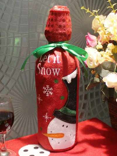 Merry Christmas Snowman Wine Bottle Cover Bag - Red