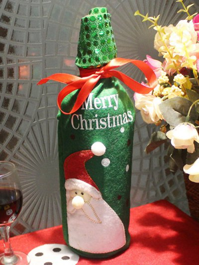 Christmas Santa Claus Wine Bottle Cover Bag - GREEN  Mobile