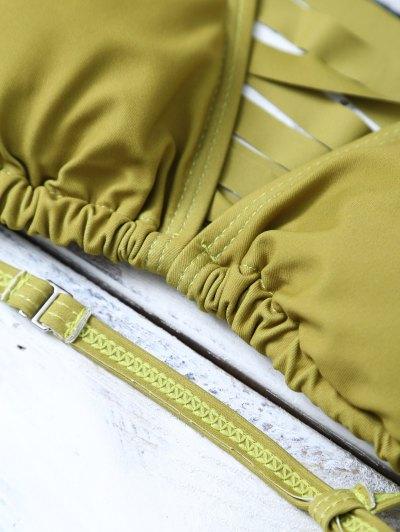 High Leg Strappy Cutout Bikini Set - GREEN L Mobile