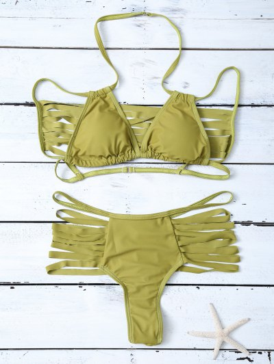 High Leg Strappy Cutout Bikini Set - GREEN M Mobile