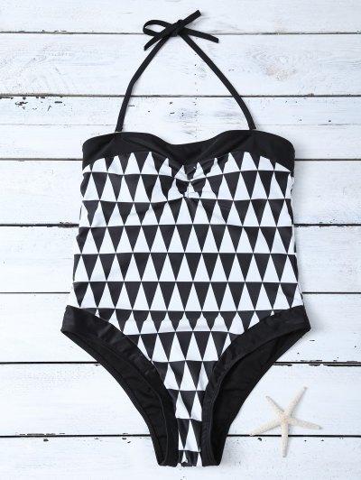 High Waisted Geometric One-Piece Swimwear - WHITE AND BLACK XL Mobile