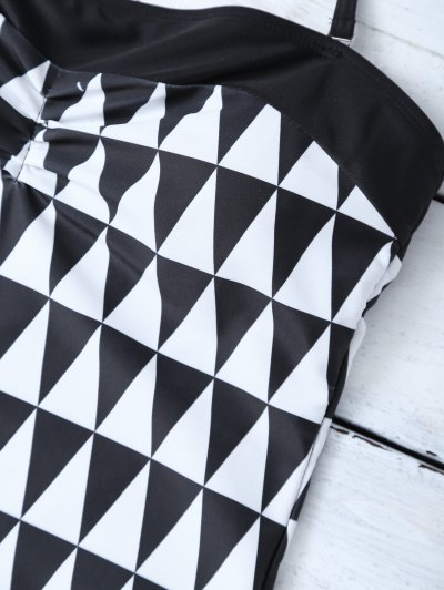 High Waisted Geometric One-Piece Swimwear - WHITE AND BLACK S Mobile