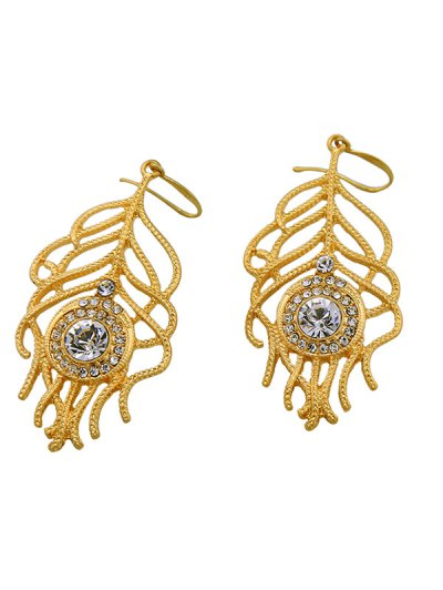 Hollow Out Rhinestone Leaf Drop Earrings - GOLDEN  Mobile