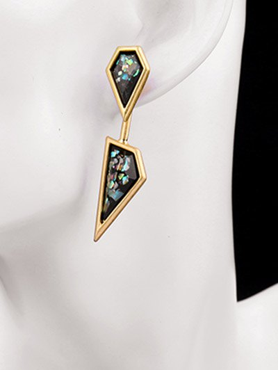 Geometric Faux Gemstone Drop Earrings - GOLDEN  Mobile