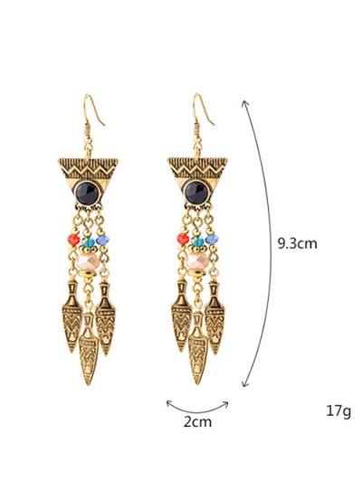 Geometric Faux Gem Drop Earrings - GOLDEN  Mobile