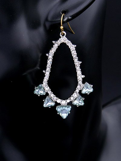 Rhinestoned Artificial Gem Earrings - SILVER  Mobile